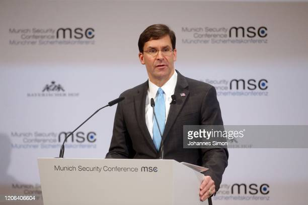 Mark Esper US secretary of defense delivers a speech at the 2020 Munich Security Conference on February 15 2020 in Munich Germany The annual...