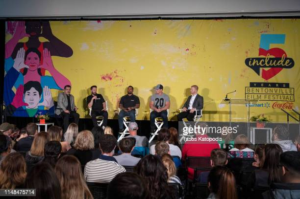 Mark Espinoza Matt Hesse Bobby Somers John Cena and Matt Musgrave speaks at the FitOps panel at the 5th Annual Bentonville Film Festival on May 11...