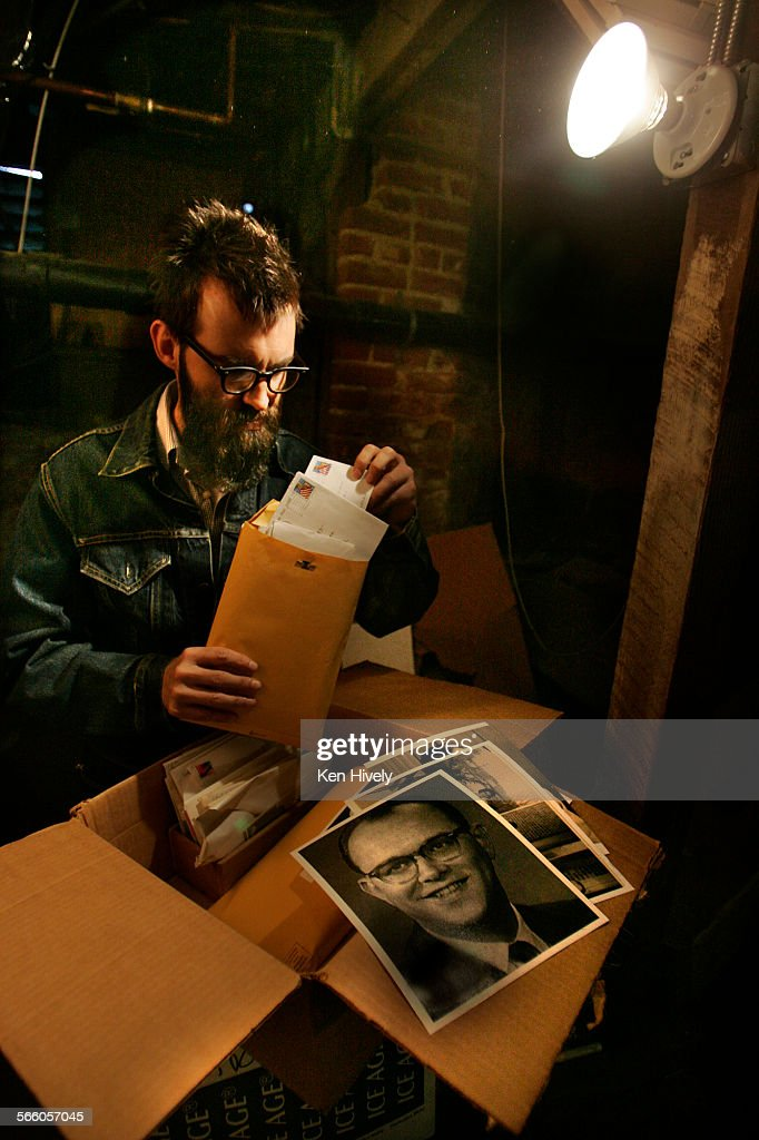 Mark Everett standing under his house where he stores his fathers memoirs in boxes, pictured is his : News Photo