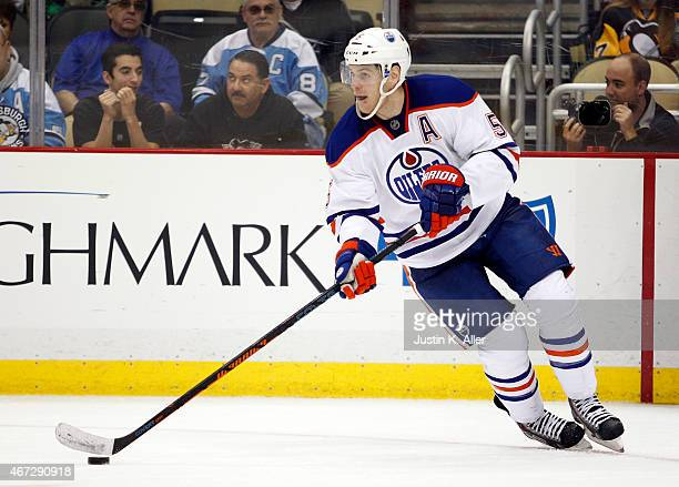 Mark Fayne of the Edmonton Oilers skates during the game against the Pittsburgh Penguins at Consol Energy Center on March 12 2015 in Pittsburgh...