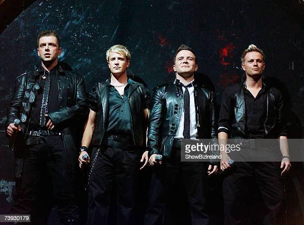 Mark Feehily, Kian Egan, Shane Filan and Nicky Byrne of Irish boyband Westlife perform at the Point Theatre on April 19, 2007 in Dublin, Ireland.