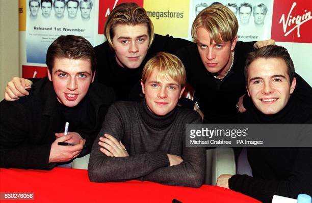 Mark Feehily Nicky Byrne Bryan McFadden Kian Egan and Shane Filan of the pop boy band Westlife at the opening of a new Virgin Megastore in London's...
