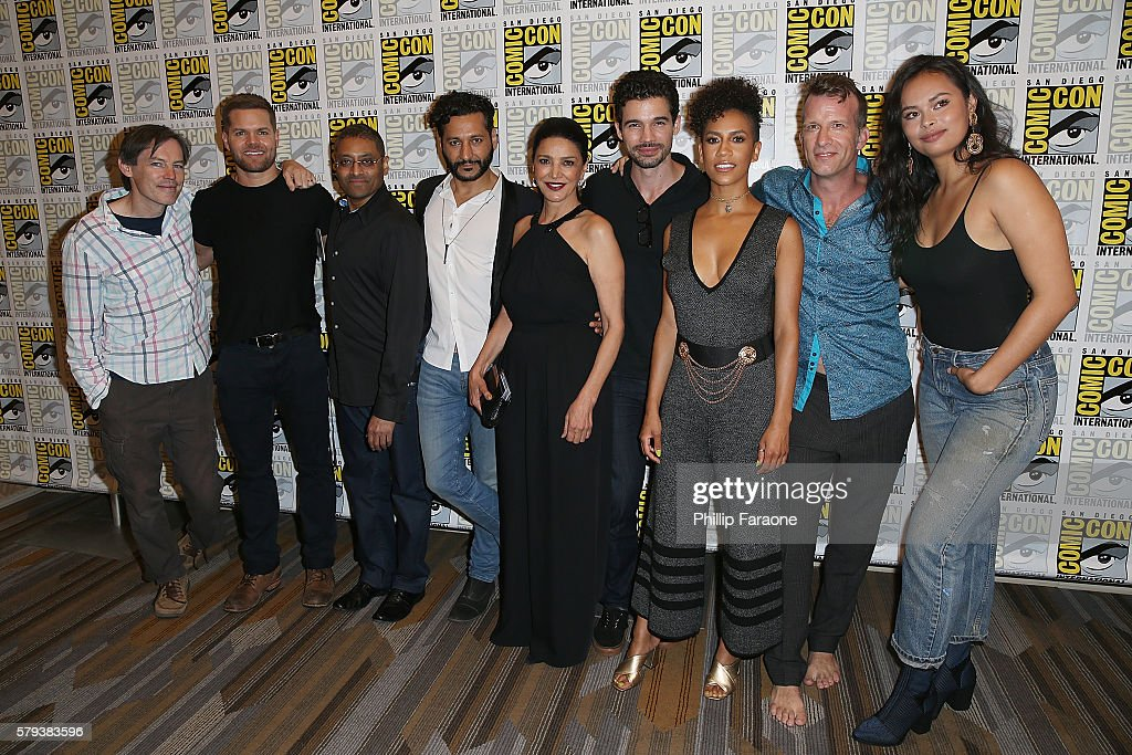 Mark Fergus, Wes Chatham, Naren Shankar, Cas Anvar, Shohreh Aghdashloo, Steven Strait, Dominique Tipper, Thomas Jane, and Frankie Adams attend 'The Expanse' press line during Comic-Con International 2016 on July 23, 2016 in San Diego, California.