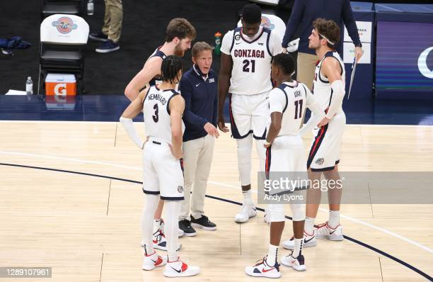 Mark Few the head coach of the Gonzaga Bulldogs gives instructions to his team against the West Virginia Mountaineers during the Jimmy V Classic at...