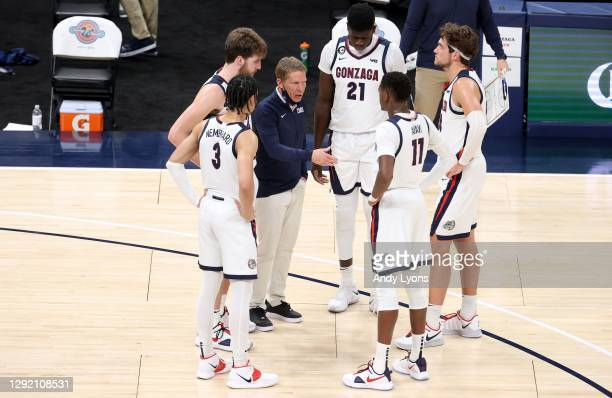 Mark Few the head coach of the Gonzaga Bulldogs gives instructions to his team in the game against the West Virginia Mountaineers during the Jimmy V...