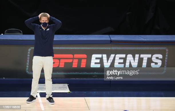 Mark Few the head coach of the Gonzaga Bulldogs reacts to a play in the game against the West Virginia Mountaineers during the Jimmy V Classic at...