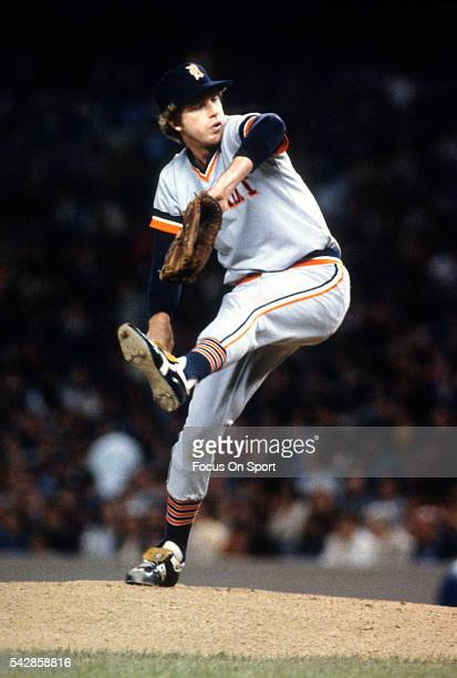 Mark Fidrych of the Detroit Tigers pitches against the New York Yankees during an Major League Baseball game circa 1979 at Yankee Stadium the Bronx...