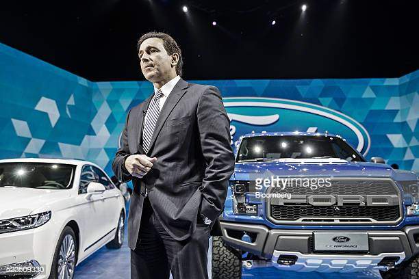 Mark Fields chief executive officer at Ford Motor Co pauses during a Ford Media Night event ahead of the Beijing International Automotive Exhibition...