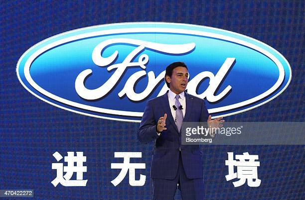 Mark Fields chief executive officer at Ford Motor Co speaks during a news conference at the 16th Shanghai International Automobile Industry...
