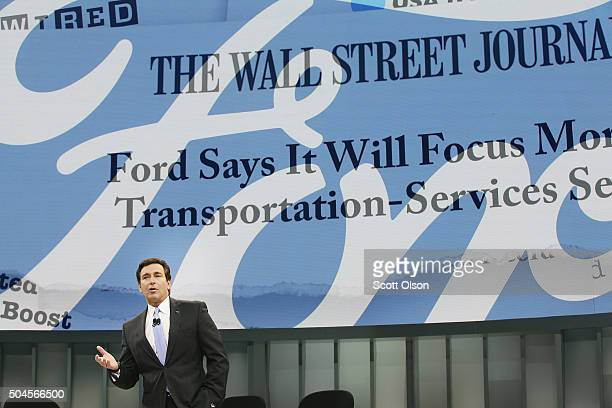 Mark Fields President and CEO of Ford Motor Company speaks to reporters during the introduction of the 2017 Fusion and new F150 Raptor at the North...