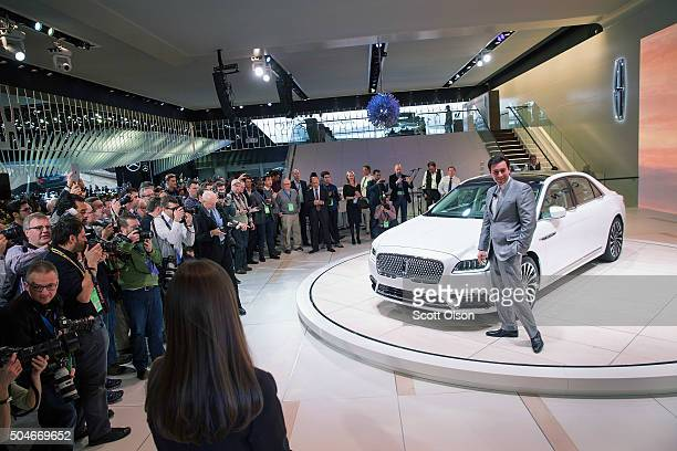 Mark Fields president and chief executive officer of Ford Motor Company poses following the introduction of the 2017 Continental at the North...