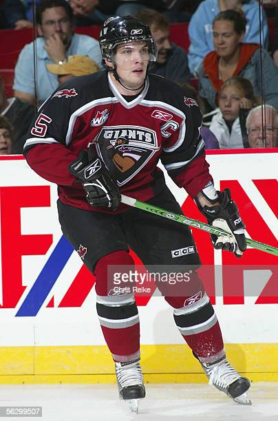 Mark Fistric of the Vancouver Giants in action against the Prince George Cougars during the WHL hockey game on September 30 2005 at Pacific Coliseum...