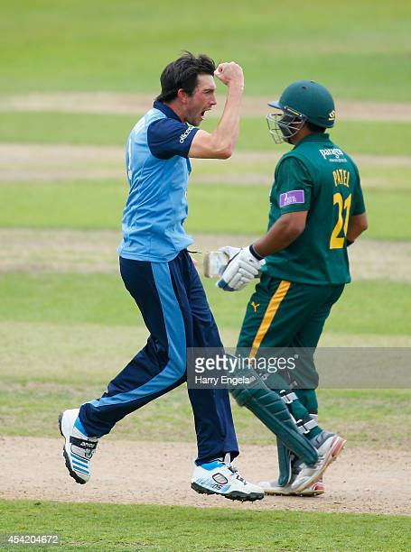 Mark Footitt of Derbyshire celebrates dismissing Samit Patel of Nottinghamshire during the Royal London OneDay Cup Quarter Final match between...