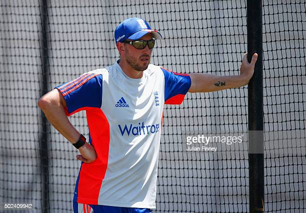 Mark Footitt of England looks on during England nets and training session at Sahara Stadium Kingsmead on December 24 2015 in Durban South Africa