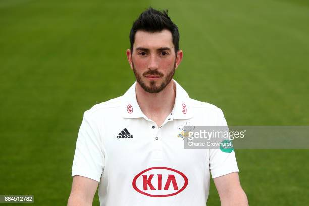Mark Footitt poses in the Specsavers County Championship kit during the Surrey CCC Photocall at The Kia Oval on April 4 2017 in London England