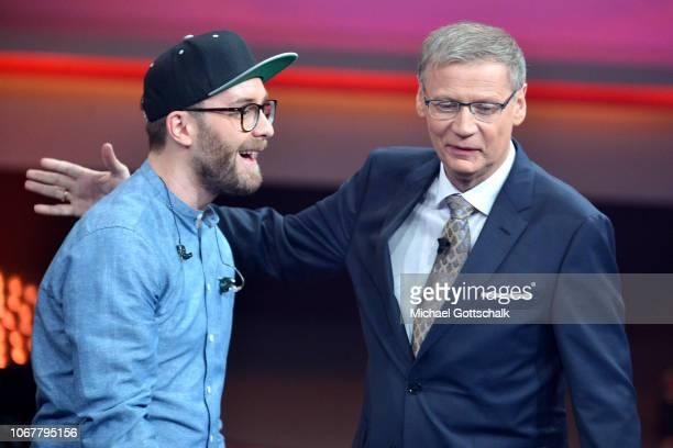 Mark Forster and Günther Jauch speak on stage during the tv show '2018 Menschen Bilder Emotionen' on December 3 2017 in Cologne Germany