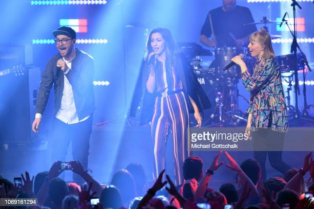 Mark Forster Lea and Namika perform on stage at the 1Live Krone radio award at Jahrhunderthalle on December 6 2018 in Bochum Germany