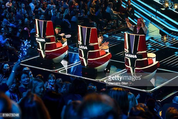 Mark Forster Lena MeyerLandrut adn Sasha aka Sascha Schmitz attend the 'The Voice Kids' Semi Finals on March 11 2016 in Berlin Germany