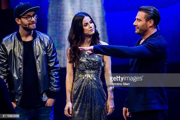 Mark Forster Lena MeyerLandrut and Sasha aka Sascha Schmitz are seen on stage during the 'The Voice Kids' Finals on March 25 2016 in Berlin Germany