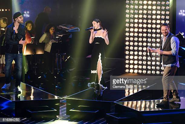 Mark Forster Lena MeyerLandrut and Sasha aka Sascha Schmitz attend the 'The Voice Kids' Semi Finals on March 11 2016 in Berlin Germany