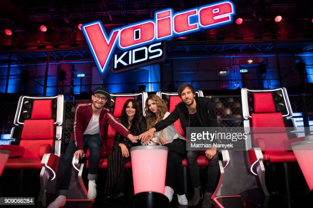 Mark Forster singer Nena her daughter Larissa Kerner and Max Giesinger pose during the 'The voice Kids' photo call at Studio Adlershof on January 22...