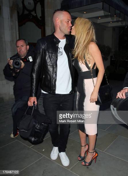 Mark Foster and Sarah Harding leaving Scotts restaurant on June 13 2013 in London England