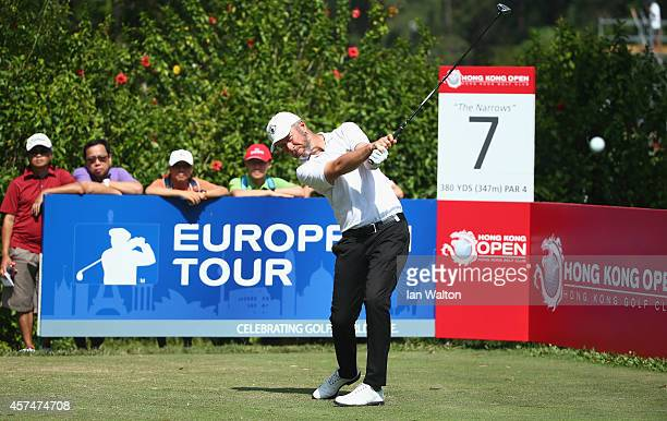 Mark Foster of England in action during the final round of the 2014 Hong Kong open at The Hong Kong Golf Club on October 19, 2014 in Hong Kong, Hong...