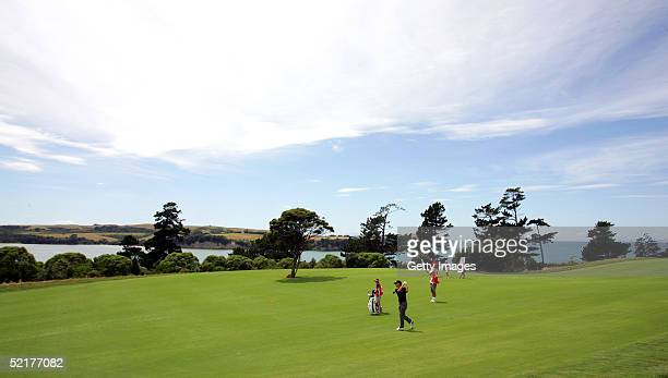 Mark Foster of England plays a shot on the 17th fairway during day two of the Holden New Zealand Open at Gulf Harbour Country Club on February 11...