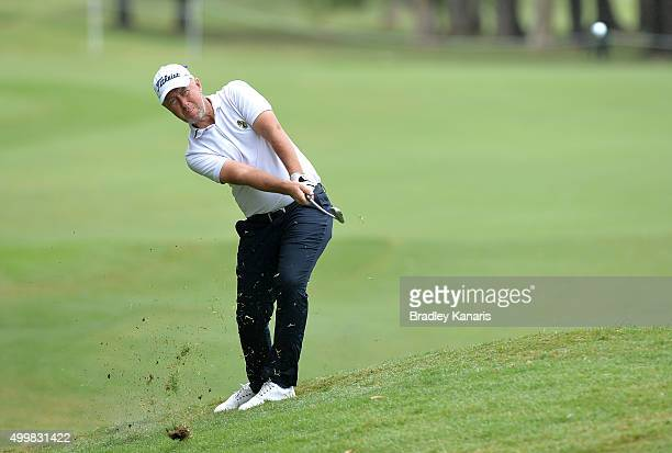 Mark Foster of England plays a shot on the 8th hole during day two of the 2015 Australian PGA Championship at Royal Pines Resort on December 4, 2015...