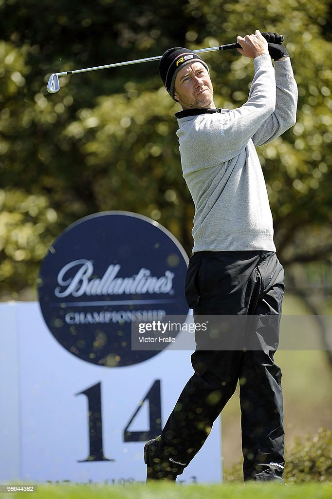 Mark Foster of England tees off on the 14th hole during the Round Two of the Ballantine's Championship at Pinx Golf Club on April 24, 2010 in Jeju island, South Korea.