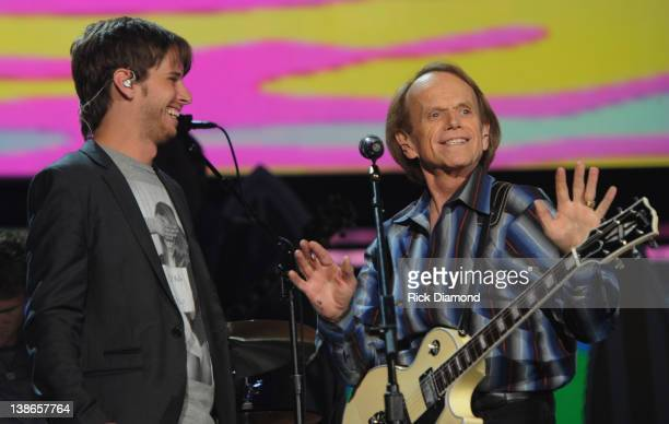 Mark Foster of Foster the People and Al Jardine of The Beach Boys perform onstage during The 54th Annual GRAMMY Awards rehearsals Day 1 at Staples...