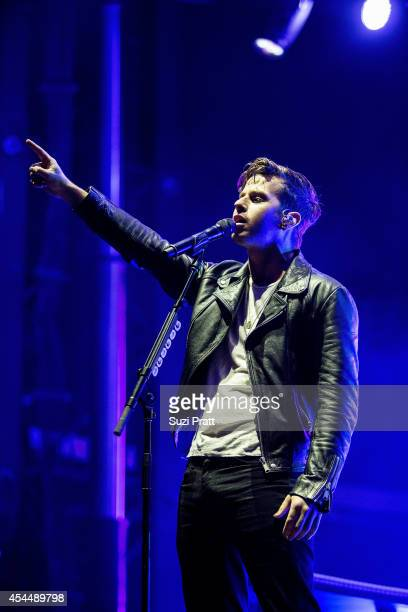 Mark Foster of Foster the People performs at the Bumbershoot Music and Arts Festival on September 1 2014 in Seattle Washington
