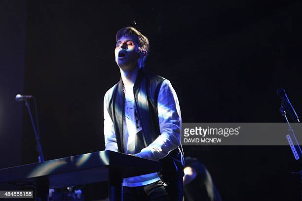 Mark Foster of Foster the People performs at the Coachella Valley Music Arts Festival at the Empire Polo Club in Indio California April 12 2014 The...