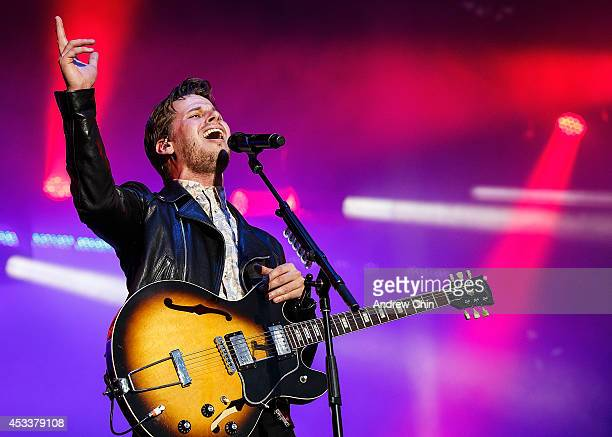 Mark Foster of Foster the People performs on stage during Day 1 of Squamish Valley Music Festival on August 8 2014 in Squamish Canada