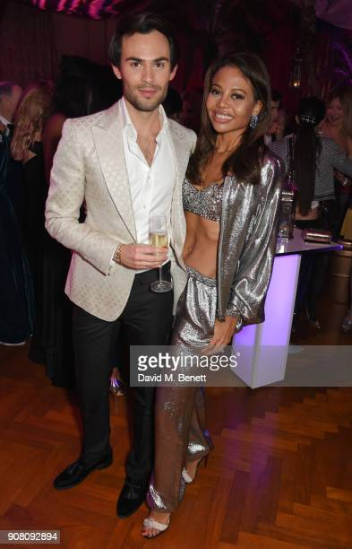 Mark Francis Vandelli and Viscountess Emma Weymouth attend Lisa Tchenguiz's birthday party on January 20 2018 in London England