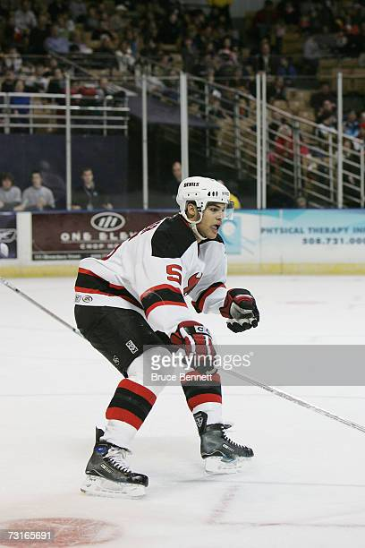Mark Fraser of the Lowell Devils skates against the Worcester Sharks on January 19 2007 at the DCU Center in Worcester Massachussets The Devils won 31