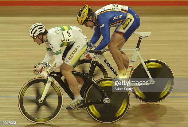 Mark French of Australia leads Jens Fiedler in the men's Sprint finals during the UCI World Cup Track Cycling May 17, 2003 at the Dunc Gray Veledrome...