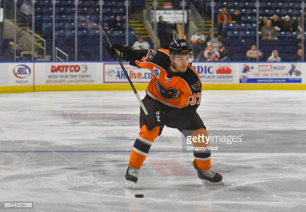 Mark Friedman of the Lehigh Valley Phantoms looks to shoot during a game against the Bridgeport Sound Tigers at the Webster Bank Arena on December 17...