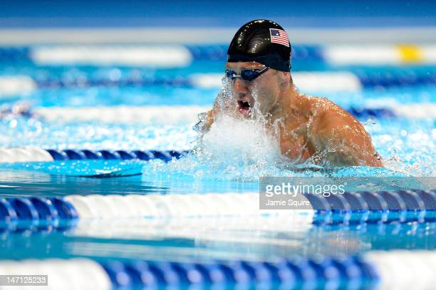 Mark Gangloff competes in preliminary heat 14 of the Men's 100 m Breststroke during the 2012 US Olympic Swimming Team Trials at CenturyLink Center on...