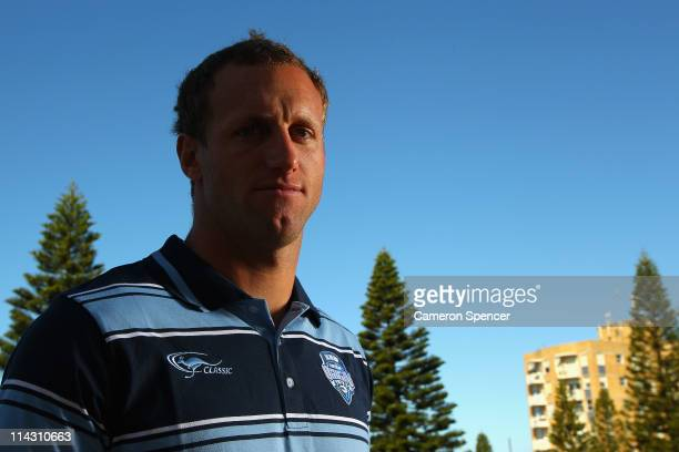 Mark Gasnier of the Blues poses for a portrait during a New South Wales Blues State of Origin media session at Crown Plaza Coogee on May 18 2011 in...