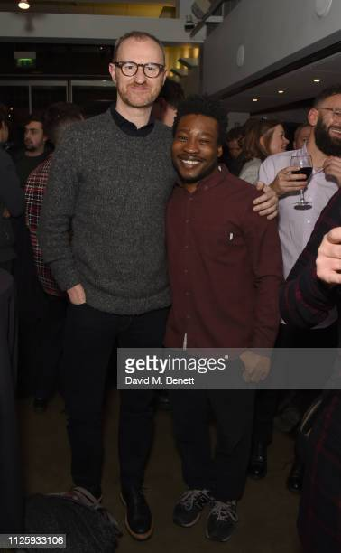 "Mark Gatiss and Fisayo Akinade attend the press night after party for ""Shipwreck"" at The Almeida Theatre on February 19, 2019 in London, England."