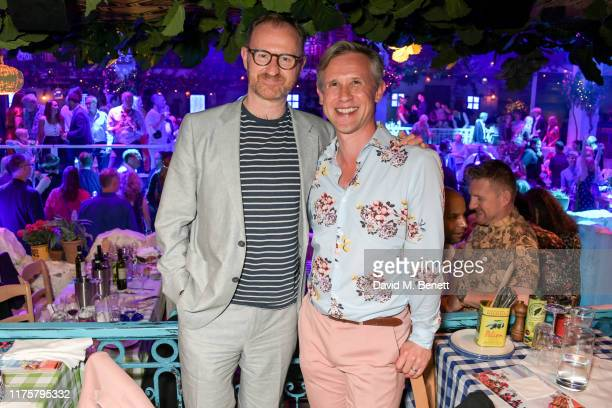Mark Gatiss and Ian Hallard attend the opening night of MAMMA MIA! The Party at Building 6 at The O2 on September 19, 2019 in London, England.
