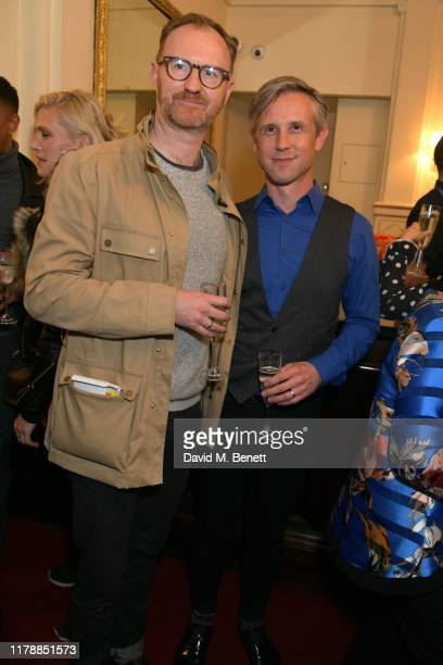 "Mark Gatiss and Ian Hallard attend the press night after party for ""Noises Off"" at The Garrick Theatre on October 03, 2019 in London, England."