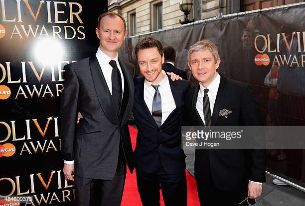 Mark Gatiss James McAvoy and Martin Freeman attend the Laurence Olivier Awards at the Royal Opera House on April 13 2014 in London England