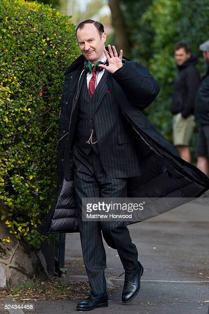 Mark Gatiss spotted during filming for the third series of BBC show Sherlock at a property on Cyncoed Road on April 25 2016 in Cardiff Wales