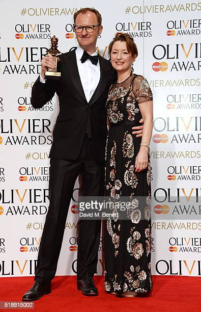 Mark Gatiss winner of the Best Actor In A Supporting Role award for Three Days In The Country and presenter Lesley Manville pose in the Winners Room...