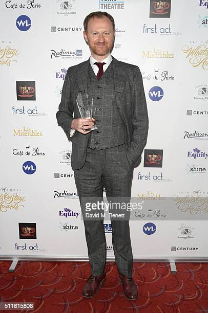 Mark Gatiss with his Best Supporting Actor in a Play award for Three Days in the Country during the 16th Annual WhatsOnStage Awards at The Prince of...