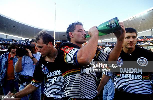 Mark Geyer of the Panthers celebrates winning the 1991 NSWRL Grand Final between the Penrith Panthers and the Canberra Raiders held at the Sydney...