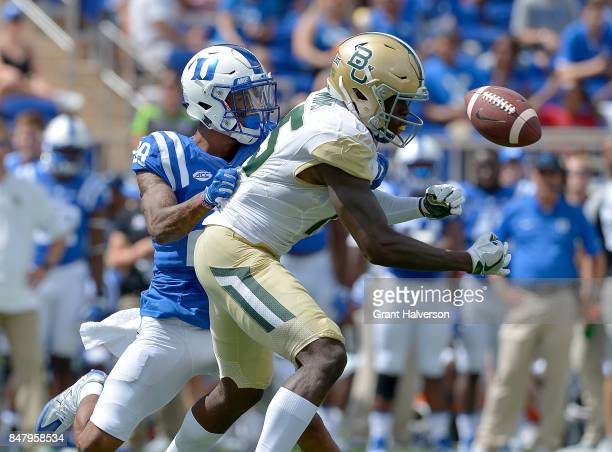 Mark Gilbert of the Duke Blue Devils breaks up a pass intended for Denzel Mims of the Baylor Bears during the game at Wallace Wade Stadium on...