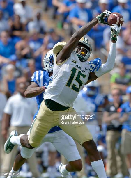 Mark Gilbert of the Duke Blue Devils defends a pass to Denzel Mims of the Baylor Bears during the game at Wallace Wade Stadium on September 16 2017...